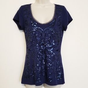 White House Black Market Sequin T Shirt Sz S